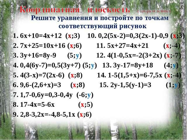 Решите уравнения и постройте по точкам соответствующий рисунок 1. 6х+10=4х+1...