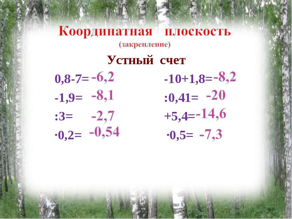 Устный счет 0,8-7= -10+1,8= -1,9= :0,41= :3= +5,4= ∙0,2= ∙0,5=