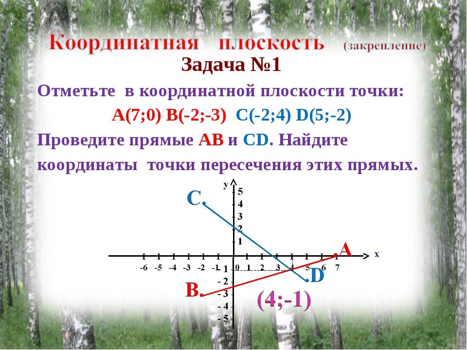 Задача №1 Отметьте в координатной плоскости точки: А(7;0) В(-2;-3) С(-2;4) D(...