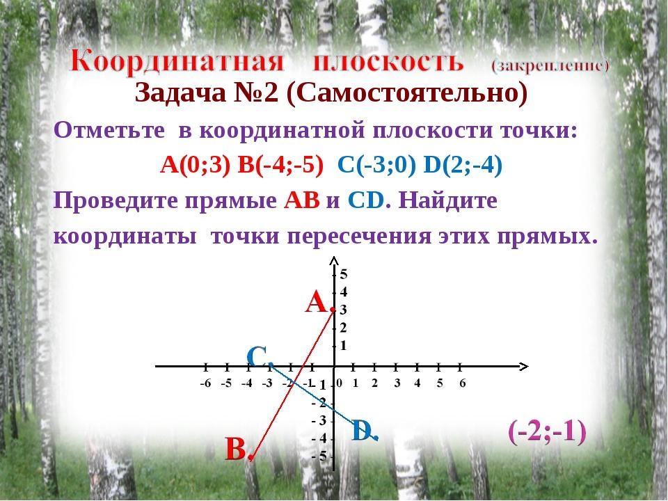 Задача №2 (Самостоятельно) Отметьте в координатной плоскости точки: А(0;3) В(...
