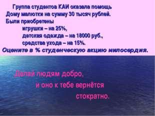 Группа студентов КАИ оказала помощь Дому малютки на сумму 30 тысяч рублей. Б