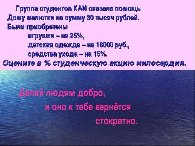 Группа студентов КАИ оказала помощь Дому малютки на сумму 30 тысяч рублей. Б...