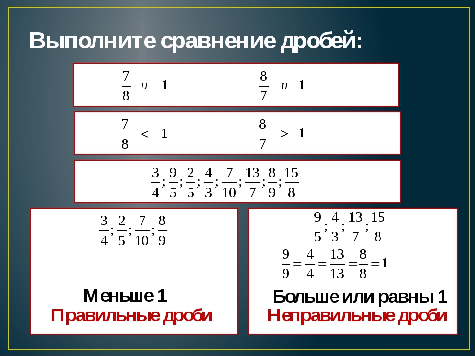 Выполните сравнение дробей: Меньше 1 Больше или равны 1 Правильные дроби Непр...