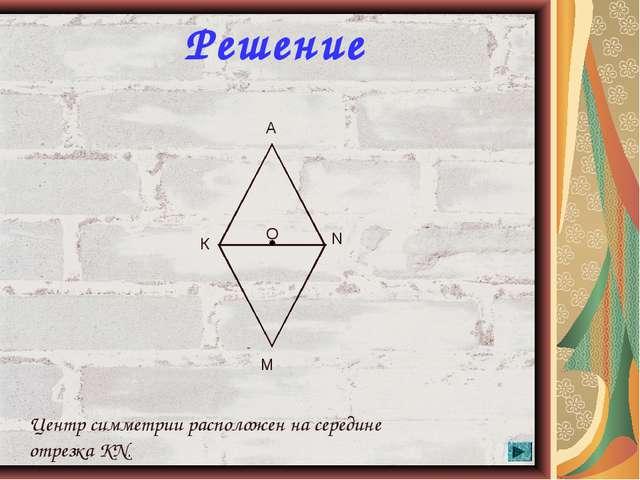 * Решение О К N A M Центр симметрии расположен на середине отрезка KN.