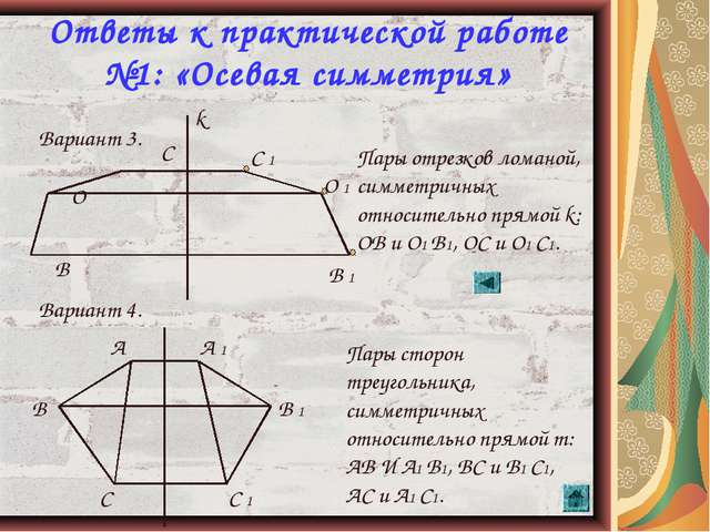 * Ответы к практической работе №1: «Осевая симметрия» Вариант 3. Вариант 4. В...