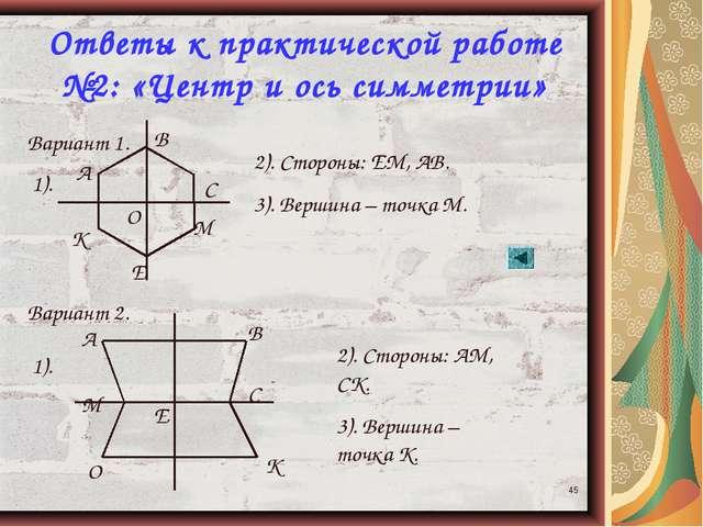 * Ответы к практической работе №2: «Центр и ось симметрии» Вариант 1. Вариант...