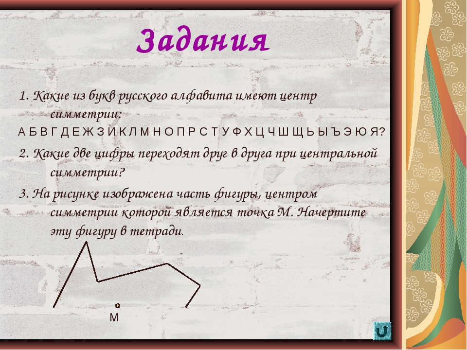 * Задания 1. Какие из букв русского алфавита имеют центр симметрии: А Б В Г Д...