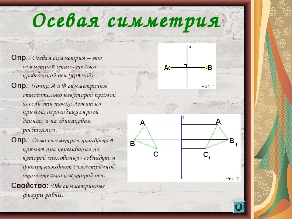 * Осевая симметрия Опр.: Осевая симметрия – это симметрия относительно провед...