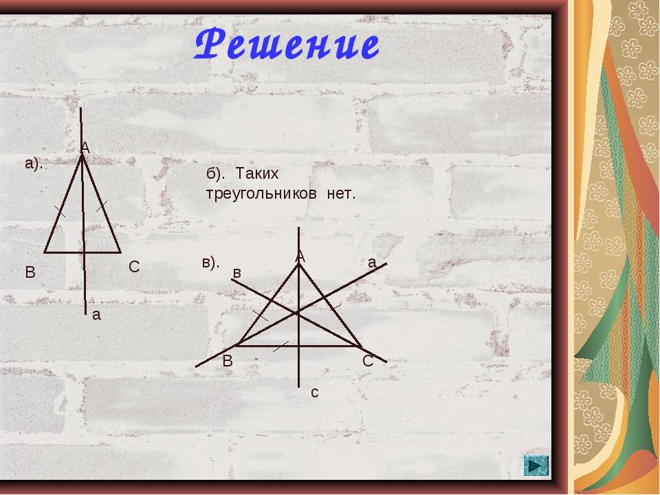 * Решение А В С а а). б). Таких треугольников нет. в). А В С а в с