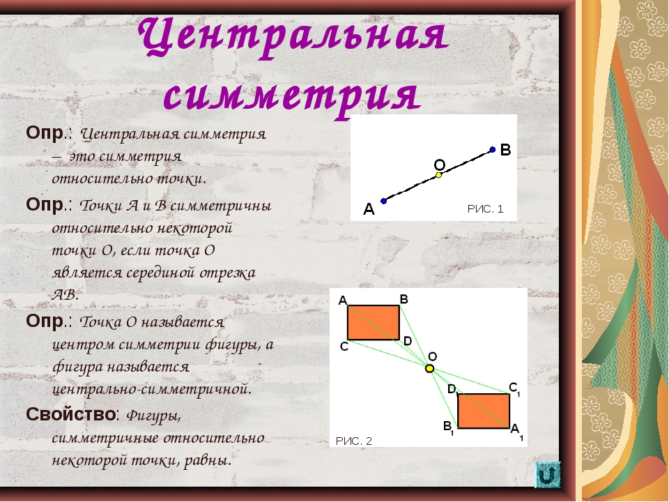 * Центральная симметрия Опр.: Центральная симметрия – это симметрия относител...