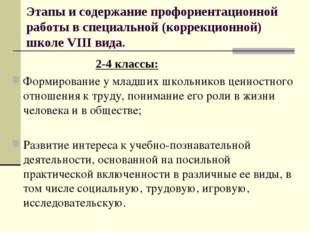 Этапы и содержание профориентационной работы в специальной (коррекционной) шк