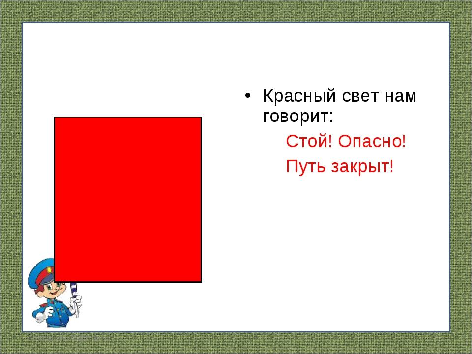 Красный свет нам говорит: Стой! Опасно! Путь закрыт! FokinaLida.75@mail.ru