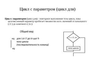 Цикл с параметром (цикл для) Цикл с параметром (цикл для) - повторное выполне