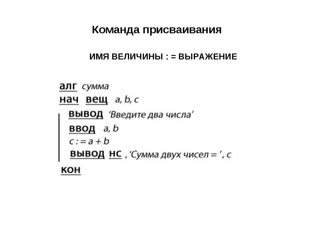 Команда присваивания ИМЯ ВЕЛИЧИНЫ : = ВЫРАЖЕНИЕ