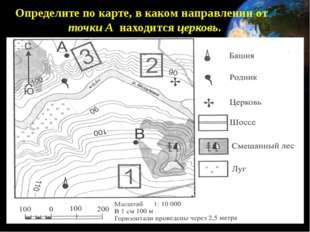 Определите по карте, в каком направлении от точки А находится церковь.