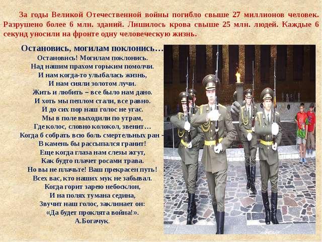 За годы Великой Отечественной войны погибло свыше 27 миллионов человек. Разр...