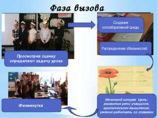 Фаза вызова Просмотрев сценку определяют задачу урока Распределение обязаннос