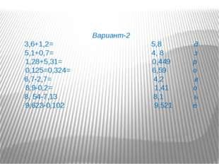 Вариант-2 3,6+1,2= 5,8 д 5,1+0,7= 4, 8 з 1,28+5,31= 0,449 р 0,125=0,324= 6,59