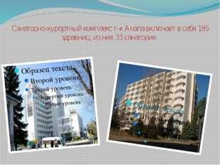 Санаторно-курортный комплекс г-к Анапа включает в себя 185 здравниц, из них 3