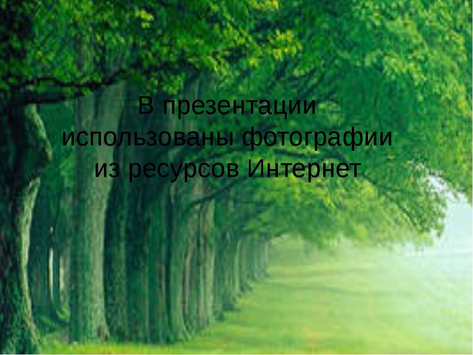 В презентации использованы фотографии из ресурсов Интернет