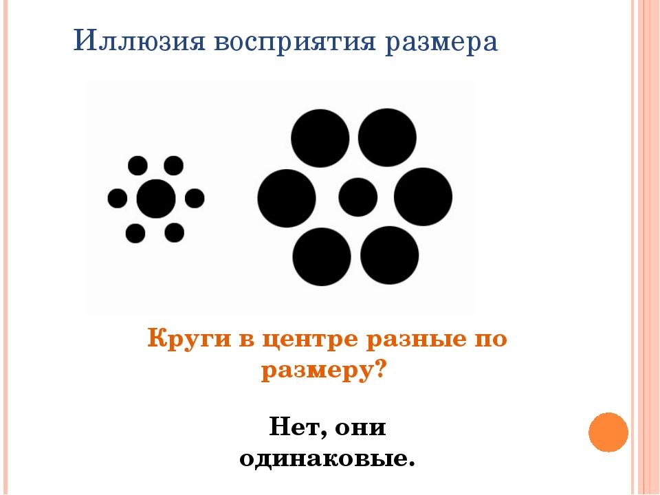 Иллюзия восприятия размера Круги в центре разные по размеру? Нет, они одинако...