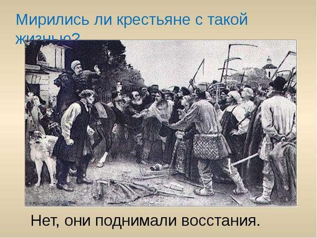 Мирились ли крестьяне с такой жизнью? Нет, они поднимали восстания.