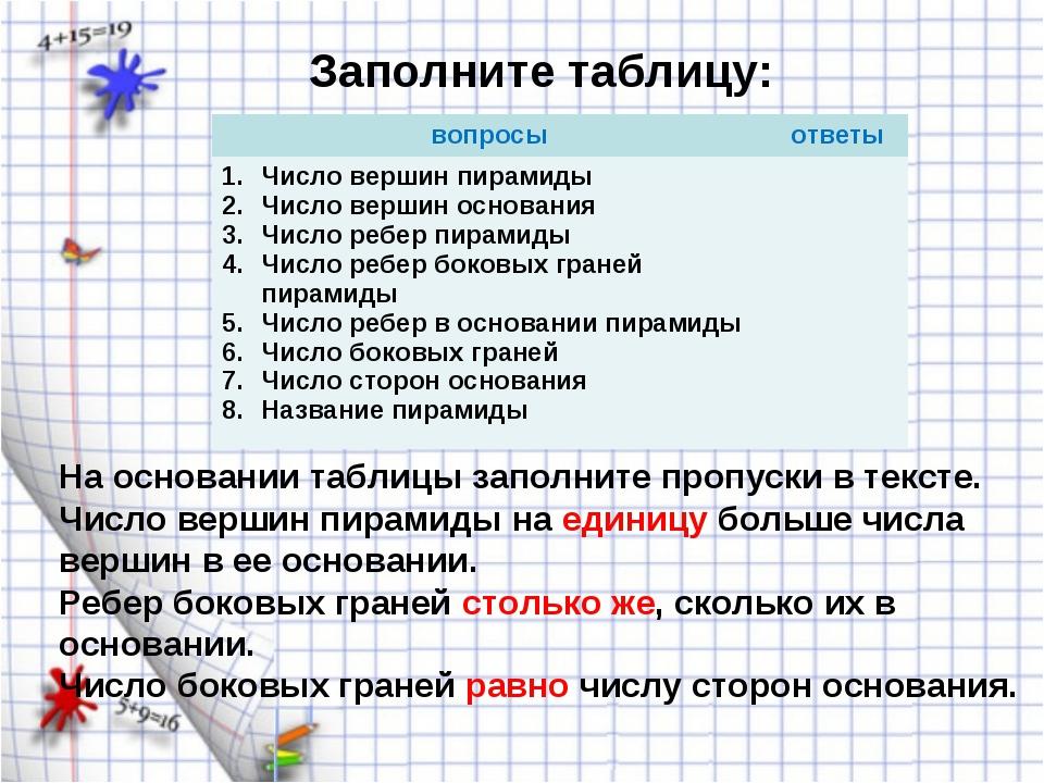 Заполните таблицу: На основании таблицы заполните пропуски в тексте. Число ве...