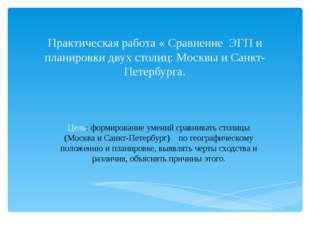 Практическая работа « Сравнение ЭГП и планировки двух столиц: Москвы и Санкт-