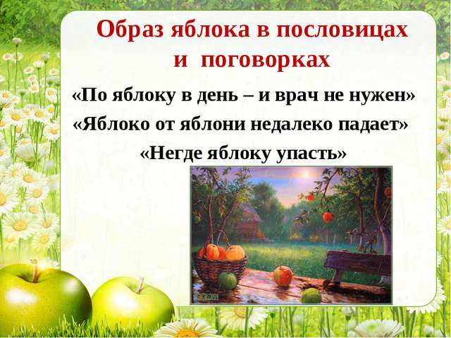 Образ яблока в пословицах и поговорках «По яблоку в день – и врач не нужен» «...