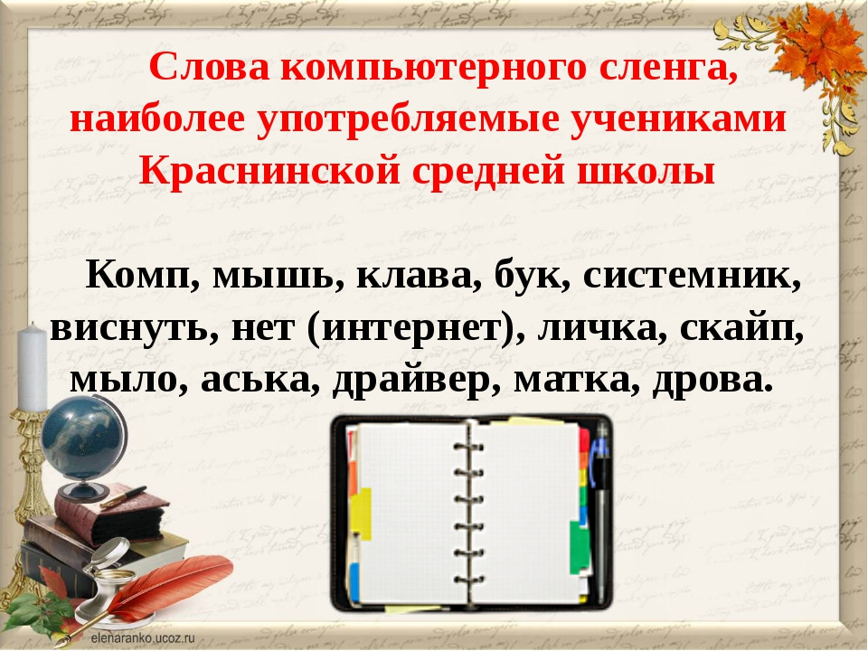 Слова компьютерного сленга, наиболее употребляемые учениками Краснинской сред...