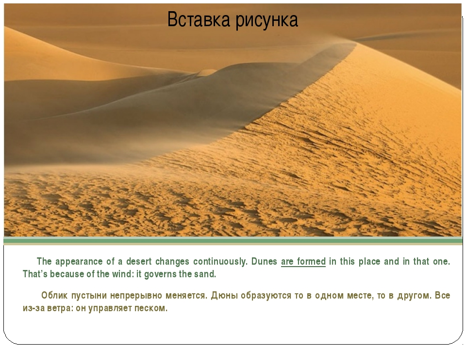 The appearance of a desert changes continuously. Dunes are formed in this pl...