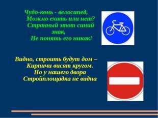 Чудо-конь - велосипед, Можно ехать или нет? Странный этот синий знак, Не поня