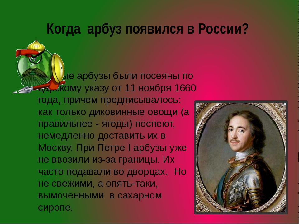 Когда арбуз появился в России? Первые арбузы были посеяны по царскому указу о...