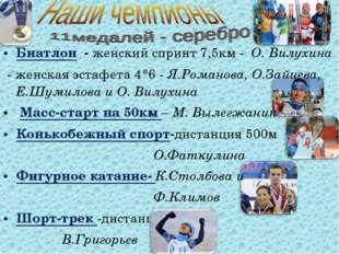 Биатлон - женский спринт 7,5км - О. Вилухина - женская эстафета 4*6 - Я.Роман