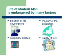 Life of Modern Man is endangered by many factors pollution of the environment