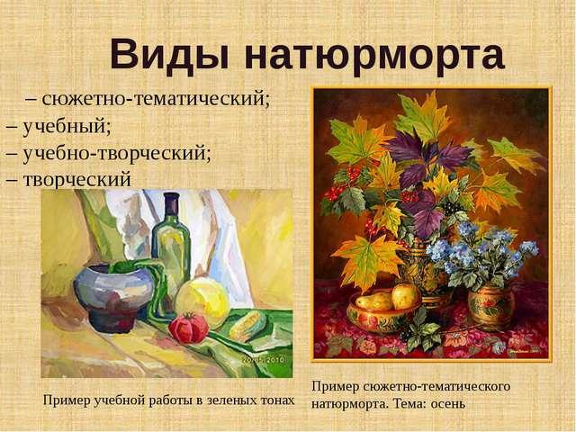 – сюжетно-тематический; – учебный; – учебно-творческий; – творческий Виды на...