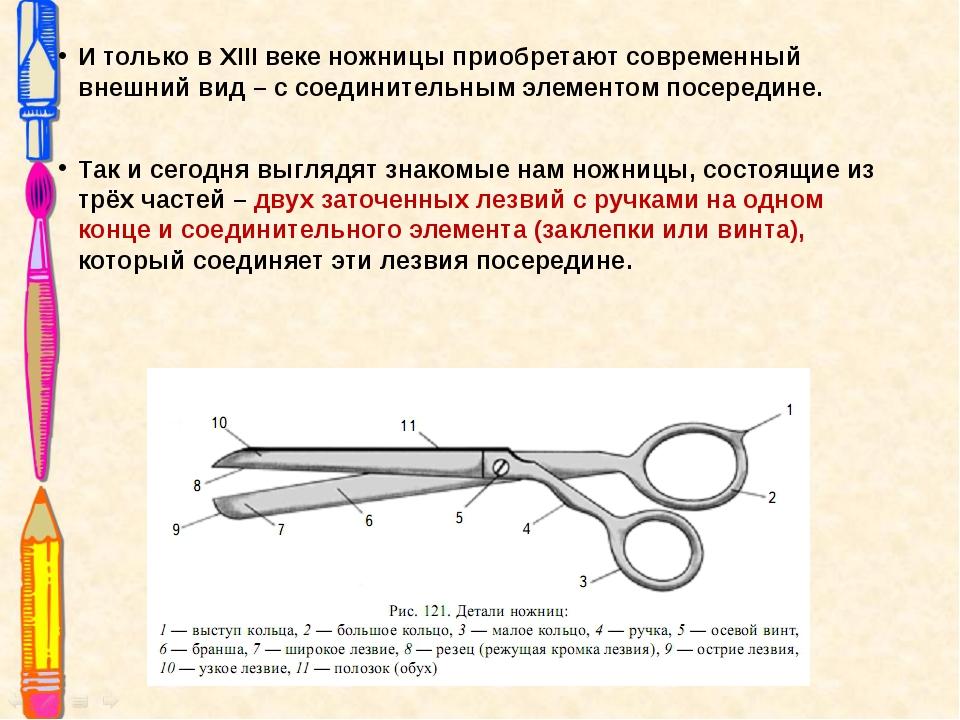 И только в XIII веке ножницы приобретают современный внешний вид – с соединит...