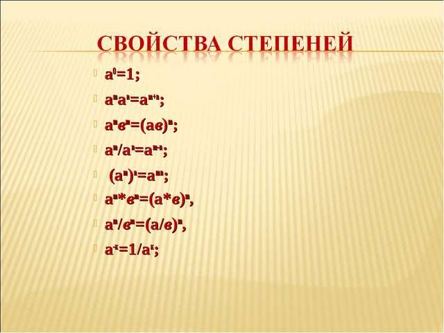 а0=1; аmаn=аm+n; аmвm=(aв)m; am/an=am-n; (am)n=amn; аm*вm=(а*в)m, am/вm=(а/в)...
