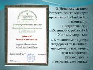 3. Диплом участника Всероссийского конкурса презентаций «ТопСлайд» в номинаци