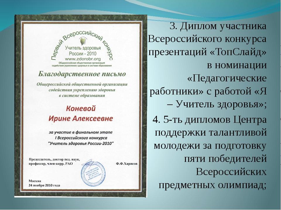 3. Диплом участника Всероссийского конкурса презентаций «ТопСлайд» в номинаци...