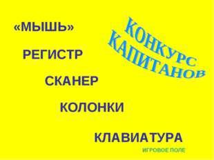 СКАНЕР КЛАВИАТУРА РЕГИСТР КОЛОНКИ «МЫШЬ» ИГРОВОЕ ПОЛЕ
