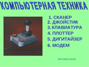 1. СКАНЕР 2. ДЖОЙСТИК 3. КЛАВИАТУРА 4. ПЛОТТЕР 5. ДИГИТАЙЗЕР 6. МОДЕМ ИГРОВОЕ