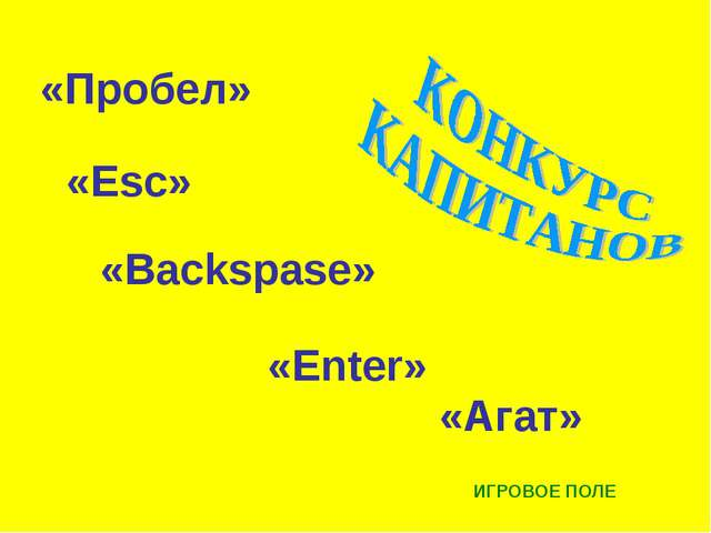 «Backspase» «Esc» «Агат» «Enter» «Пробел» ИГРОВОЕ ПОЛЕ