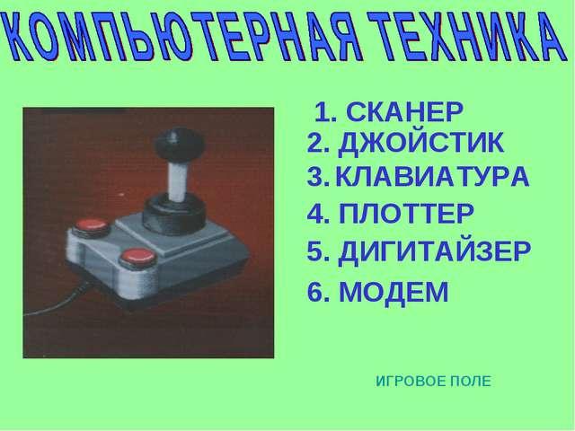 1. СКАНЕР 2. ДЖОЙСТИК 3. КЛАВИАТУРА 4. ПЛОТТЕР 5. ДИГИТАЙЗЕР 6. МОДЕМ ИГРОВОЕ...