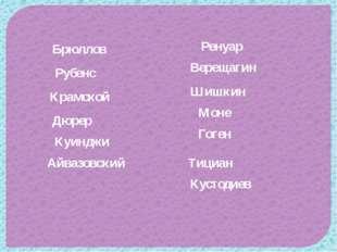 Айвазовский Брюллов Крамской Верещагин Шишкин Куинджи Гоген Моне Ренуар Дюрер