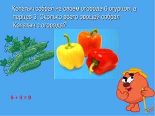 Копатыч собрал на своем огороде 6 огурцов, а перцев 3. Сколько всего овощей