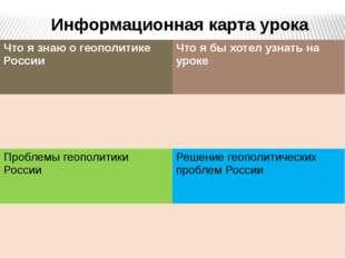 Информационная карта урока Что я знаю о геополитике России Что я бы хотел уз
