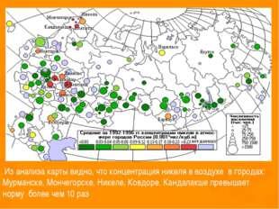 Из анализа карты видно, что концентрация никеля в воздухе в городах: Мурманс