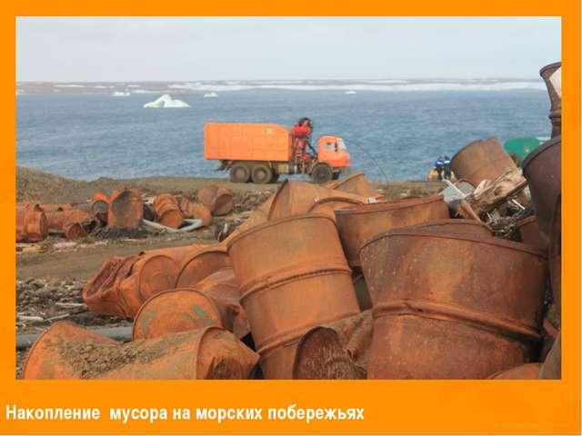 Накопление мусора на морских побережьях