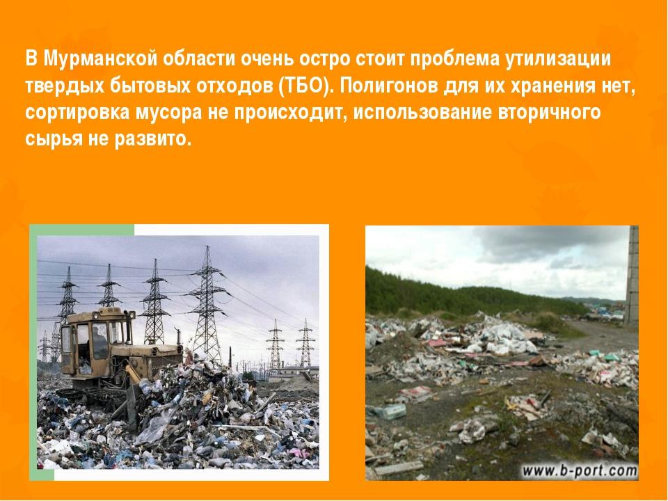 В Мурманской области очень остро стоит проблема утилизации твердых бытовых от...